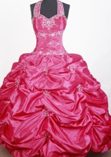 2012 Sweet Ball Gown Halter Top Floor-length Little Gril Pagant Dress Style RFGDC070