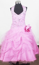 2012 Sweet Ball Gown Halter Top Floor-length Little Gril Pagant Dress Style RFGDC085
