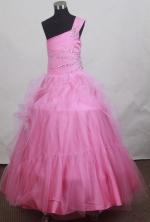 2012 Sweet Ball Gown One-shoulder Floor-length Flower Girl Dress Style RFGDC0102