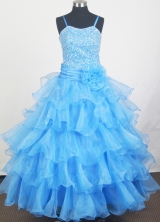 2012 Sweet Ball Gown Spaghetti Straps Floor-length Little Gril Pagant Dress Style RFGDC074