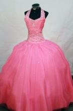 Affordable Ball Gown Halter Top Floor-length Waltermelon Beading Flower Girl dress Style FA-L-450