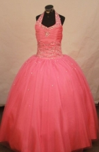 Affordable Ball Gown Halter Top Floor-length Waltermelon Beading Flower Gril dress Style FA-L-450