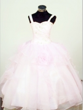 Affordable Ball Gown Strap Floor-length Baby Pink Organza Beading Flower Girl dress Style FA-L-426