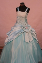 Affordable Ball Gown Strap Floor-length Turquoise Taffeta Flower Gril dress Style FA-L-452