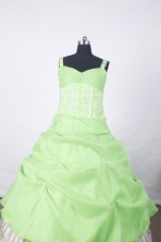 Affordable Ball Gown Straps Floor-Length Spring Green Beading Flower Girl Dresses Style FA-S-203