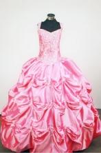 Beading Ball Gown Strap Floor-length Pink Taffeta Beading Flower Girl dress Style FA-L-424