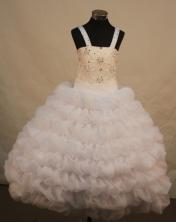 Beautiful Ball Gown Straps Floor-Length White Beading Flower Girl Dresses Style FA-S-221