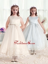 Beautiful Scoop Flower Girl Dresses with Hand Made FlowersFGL274FOR