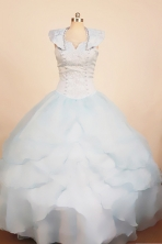Best Ball Gown Scoop Neck Floor-Length Light Blue Little Girl Pageant Dresses Style FA-Y-313