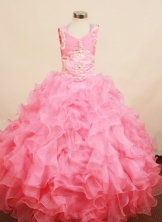 Best Ball Gown Scoop neck Floor-Length Organza Little Girl Pageant Dresses Style FA-Y-314