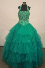 Best Ball gown Halter top neck Floor-Length Little Girl Pageant Dresses Style FA-Y-312
