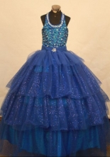 Brand New Ball Gown Halter Top Floor-length Blue Organza Beading Flower Gril dress Style FA-L-463