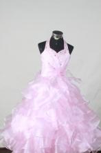 Brand New Ball Gown Halter Top NeckFloor-Length Baby Pink Beading Flower Girl Dresses Style FA-S-402