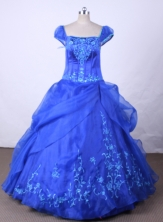 Brand New Ball Gown Off The Shoulder Neckline Floor-Length Blue Beading and Embroidery Flower Girl Y042403
