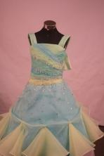 Brand New Ball Gown Off The Shoulder Neckline Floor-Length Light Yellow Beading Flower Girl Dresses Style Y042408