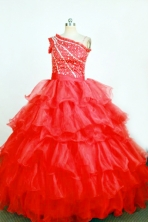 Brand New Ball Gown One Shoulder Floor-Length Red Little Girl Pageant Dresses Style FA-Y-356