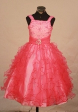 Brand New Ball Gown Strap Floor-length Red Organza Beading Flower Gril dress Style FA-L-437