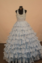 Brand new Ball gown Halter top neck Floor-Length Little Girl Pageant Dresses Style FA-Y-333