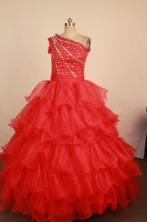 Brand new Ball gown One shoulder neck Floor-Length Little Girl Pageant Dresses Style FA-Y-356