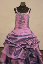 Cheap A-line Strap Floor-length Litter Girl Pageant Dress Style FA-W-294
