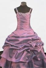 Cheap A-line Straps Floor-length Litter Girl Dress Style FA-W-294