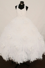 Cheap Ball Gown Halter top neck Floor-Length White Little Girl Pageant Dresses Style FA-Y-321