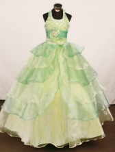 Cheap Ball gown Halter Floor-Length Organza Little Girl Pageant Dresses Style FA-Y-326