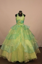 Cheap Ball gown Halter top neck Floor-Length Little Girl Pageant Dresses Style FA-Y-326