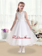 Cheap Princess Scoop White Flower Girl Dresses with Appliques       FGL229FOR