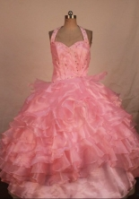 Classical Ball Gown Halter Top Floor-length Baby pink Organza Beading Flower Gril dress Style Y042417