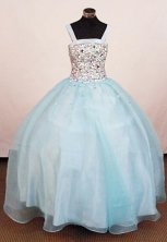 Classical Ball Gown Square Neck Floor-Length Rhinestone Little Girl Pageant Dresses Style FA-Y-350