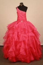 Classical Ball gown One shoulder neck Floor-Length Flower Girl Dress Style FA-Y-86