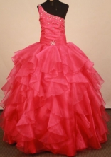 Classical Ball gown One shoulder neck Floor-Length Little Girl Pageant Dresses Style FA-Y-361