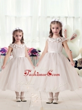 Classical Cap Sleeves Flower Girl Dresses with Appliques and BeltFGL286FOR