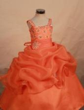 Cut Ball Gown Strap Floor-length Orange Appliques Flower Girl Dresses Style FA-C-258