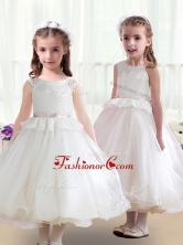 Cute Scoop White Flower Girl Dresses in Lace for 2016 FGL243FOR