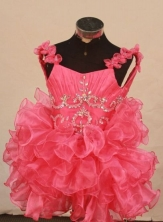 CuteBall Gown Strap Mini-length Hot Pink Organza Beading Flower Gril dress Style FA-L-427