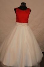 Discount A-line Scoop Floor-length Satin Appliques Flower Girl Dresses Style FA-C-247
