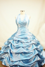 Discount Ball Gown Halter Top Neck Floor-Length Blue Appliques Flower Girl Dresses Style FA-S-223