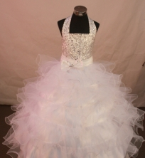 Discount Ball Gown Halter Top Neck Floor-Length White Appliques and Beading Flower Girl Dresses Y042415