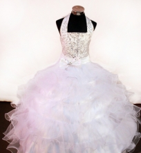 Discount Ball Gown Halter Top Neck Floor-Length White Appliques and Beading Flower Girl Dresses Style FA-S-235