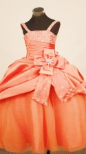 Discount Ball Gown Strap Floor-Length Taffeta Little Girl Pageant Dresses Style FA-Y-319
