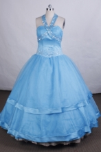 Discount Ball gown Halter top neck Floor-length Litter Girl Pageant Dress Style FA-W-284
