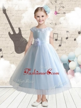 Discount Bateau Cap Sleeves Flower Girl Dresses with AppliquesFGL256AFOR