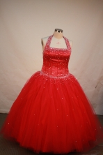 Discout Ball gown Halter top neck Floor-length Flower Girl Dresses Style FA-C-128