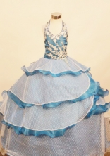 Elegant Ball Gown Halter Top Floor-Length Appliques Little Girl Pageant Dresses Style FA-Y-315
