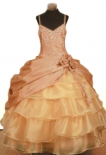 Elegant Ball Gown Strap Floor-Length Beading Little Girl Pageant Dresses Style FA-Y-344