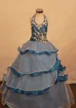 Elegant Ball gown Halter top neck Floor-Length Little Girl Pageant Dresses Style FA-Y-315