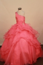 Elegant Ball gown One shoulder neck Floor-Length Little Girl Pageant Dresses Style FA-Y-347