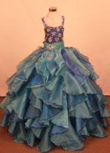 Elegant Ball gown Square neck Floor-Length Little Girl Pageant Dresses Style FA-Y-348